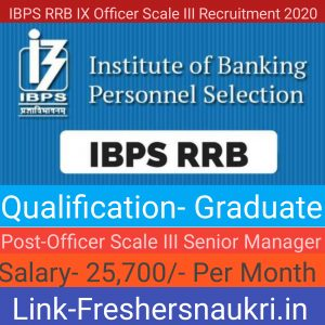 IBPS RRB IX Officer Scale III Recruitment 2020