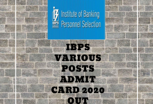 IBPS Various Posts Admit Card 2020 Out