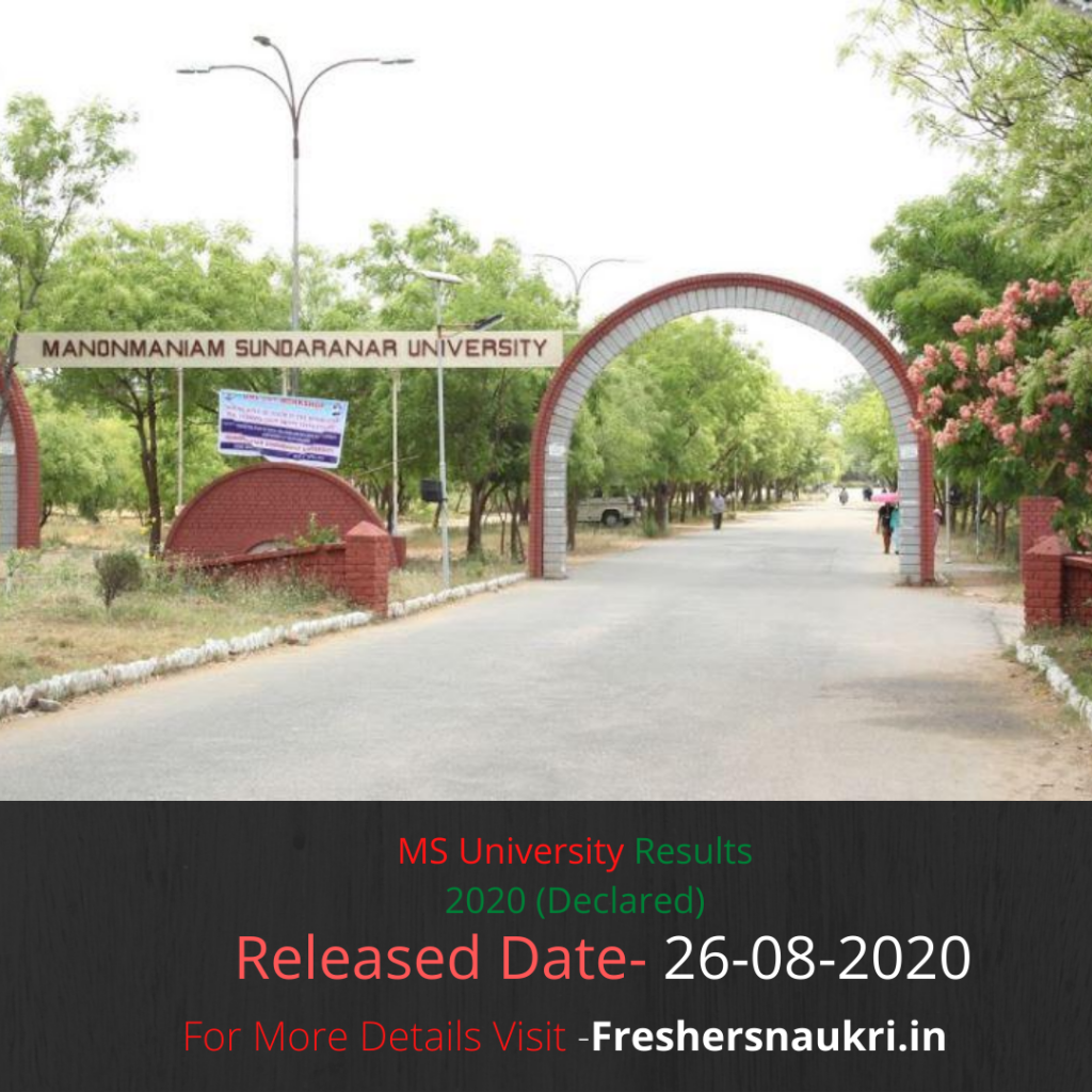 MS University Results 2020 (Declared)