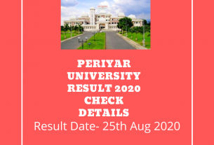 Periyar University Result 2020 Check Details