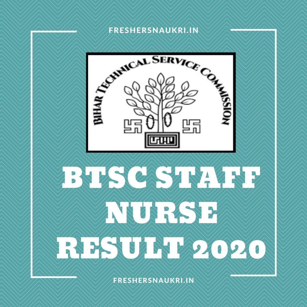 BTSC Staff Nurse Result 2020