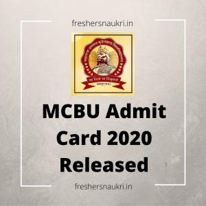 MCBU Admit Card 2020 Released