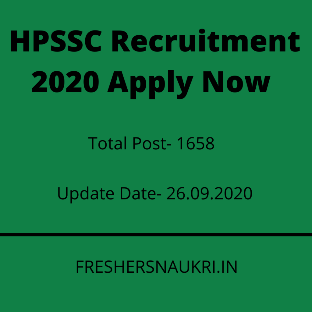HPSSC Recruitment 2020 Apply Now