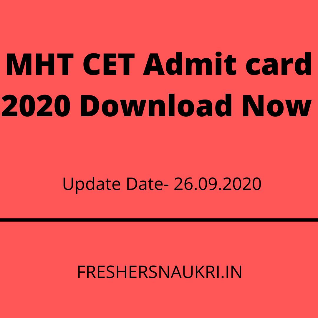 MHT CET Admit card 2020 Download Now MHT CET Admit card 2020 Download Now