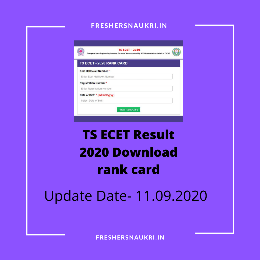 TS ECET Result 2020 Download rank card