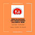 NHM Rajasthan CHO Recruitment 2020 Apply Now
