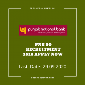 PNB SO Recruitment 2020 Apply Now