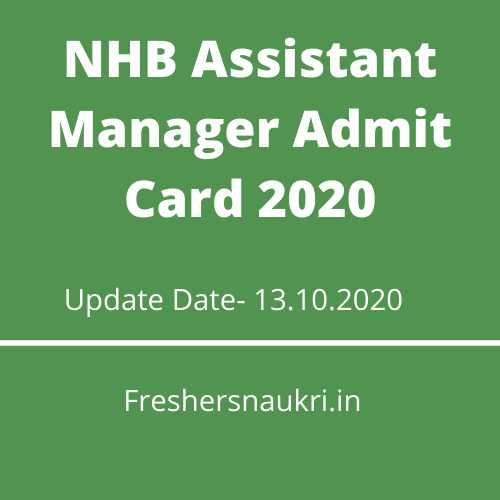 NHB Assistant Manager Admit Card 2020