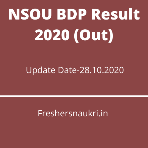 NSOU BDP Result 2020 (Out)