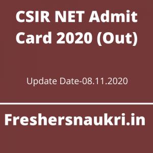 CSIR NET Admit Card 2020 (Out)
