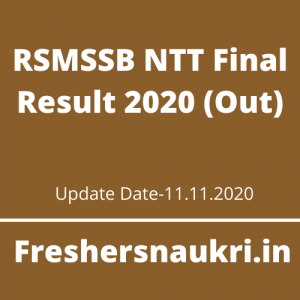 RSMSSB NTT Final Result 2020 (Out)