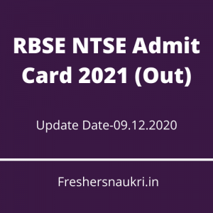 RBSE NTSE Admit Card 2021 (Out)