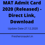 MAT Admit Card 2020 (Released) - Direct Link, Download